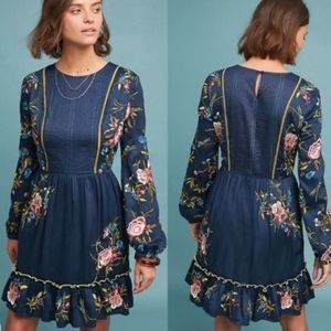 $230 Anthropologie Jamila Embroidered dress L NEW